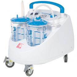 Aspiratore chirurgico maxi aspeed su rotelle - a pedale e deviatore flusso - 230v - 2x4lt - 90lt/min